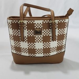 NWOT Ann Klein Woven Tan/White Plaid Shoulder Bag